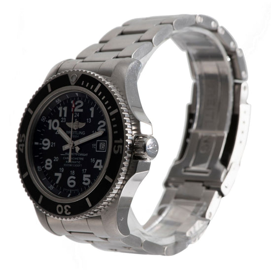 Breitling Superocean A17392 Steel & Black 44mm Mens Watch