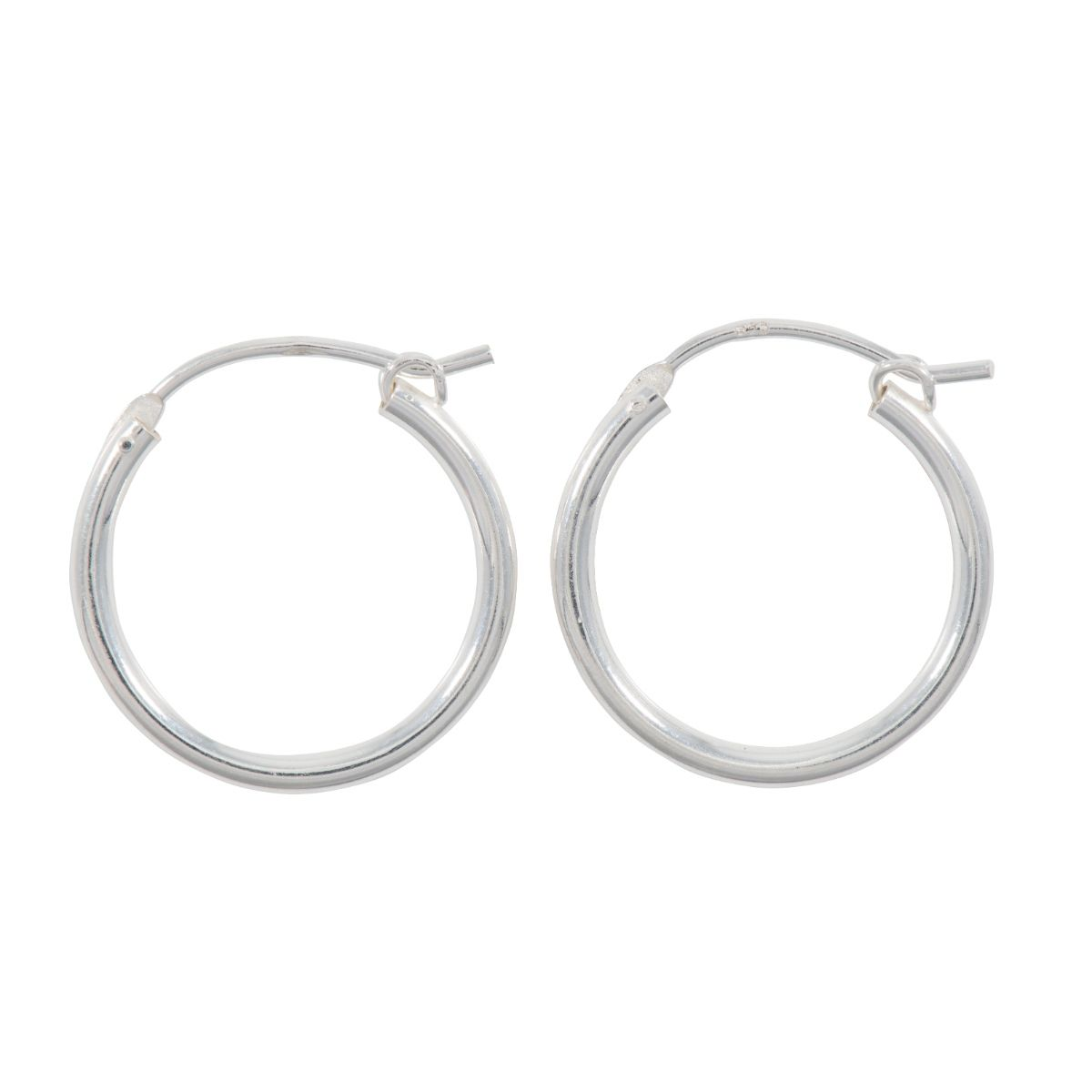 Silver Ladies Hoop Earrings 3HQF4D