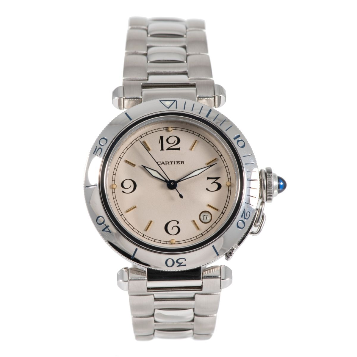 Cartier Pasha Stainless Steel & Cream 38.5mm Mens Watch