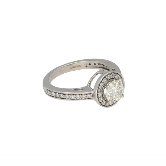 18ct White Gold 1.20ct Diamond Accent Solitaire Ring ladies Size K