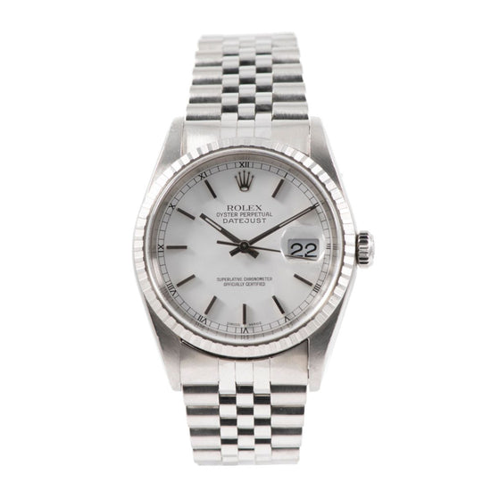 Rolex Datejust 16220 36mm White & Stainless Steel Automatic Mens Watch