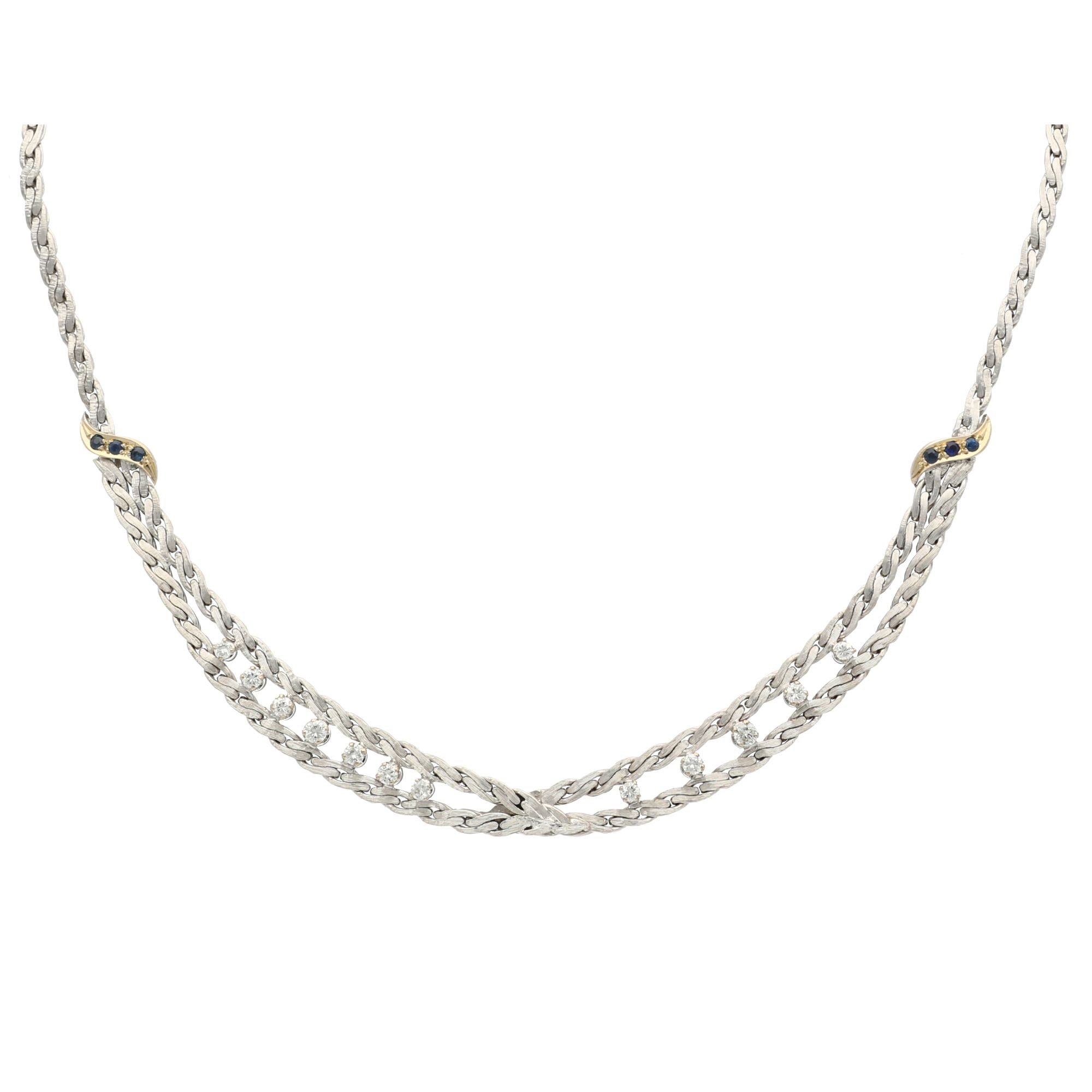 18ct White Gold Ladies Diamond & Sapphire Fancy Necklace 16 inches