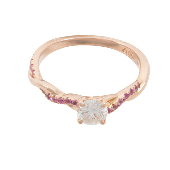 18ct Rose Gold 0.50ct Round Brilliant Cut Diamond Solitaire Ring With Accent Sapphires Ladies Size L