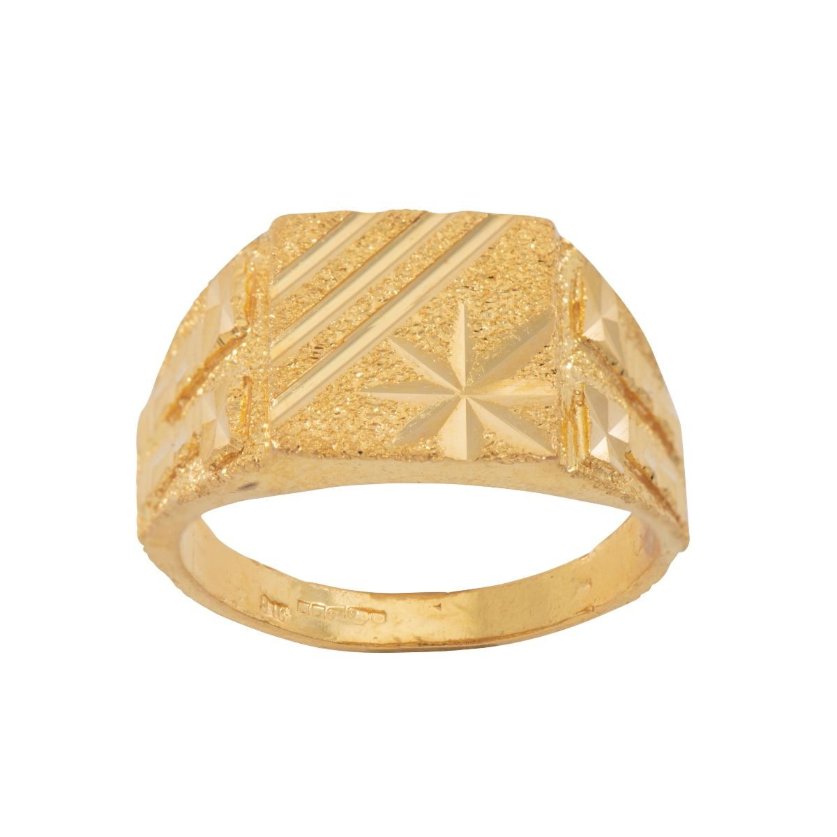 22ct Gold Patterned Signet Ring Mens Size T