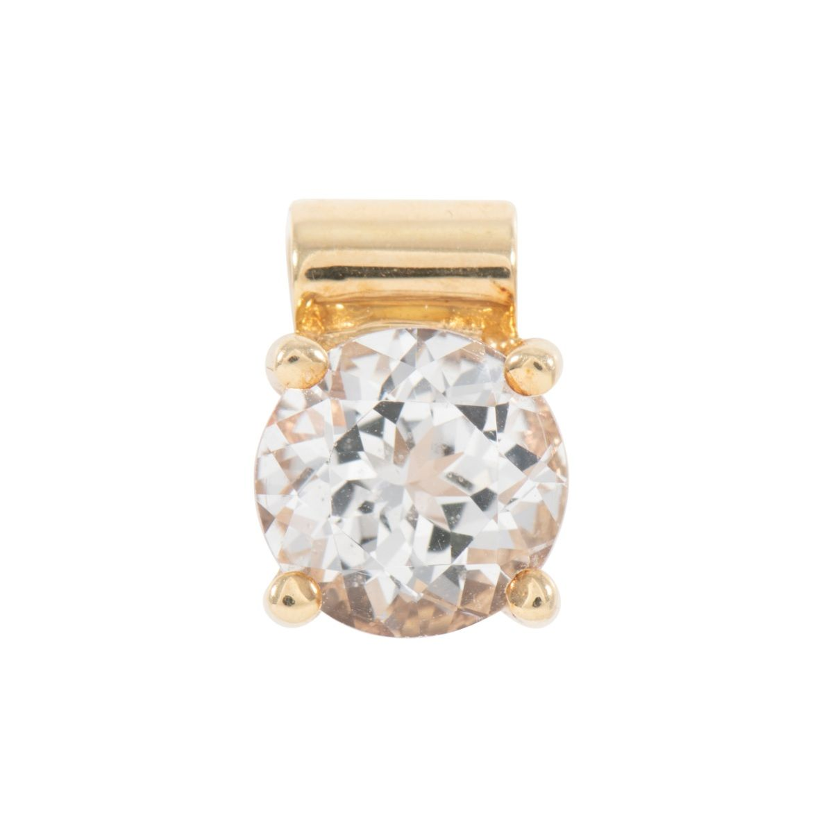 14ct Yellow Gold Topaz Solitaire Pendant Ladies 14mm