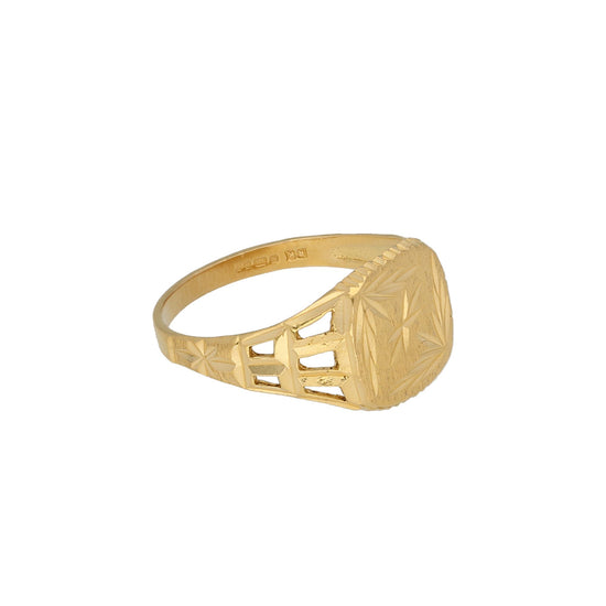 22ct Yellow Gold Patterned Signet Ring Size R