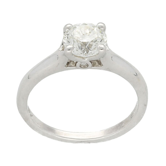 14ct White Gold 1.03ct Round Brilliant Cut Diamond Solitaire Ladies Ring Size K