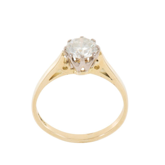 18ct Yellow Gold 0.77ct Round Brilliant Cut Diamond Solitaire Ring Ladies Size L