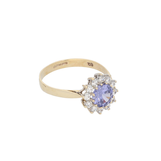 9ct Gold Cubic Zirconia Ladies Cluster Ring Size P
