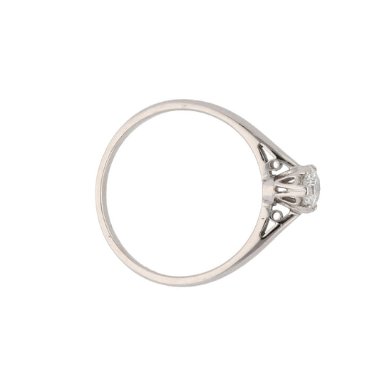 18ct White Gold Diamond Ladies Solitaire Ring Size L