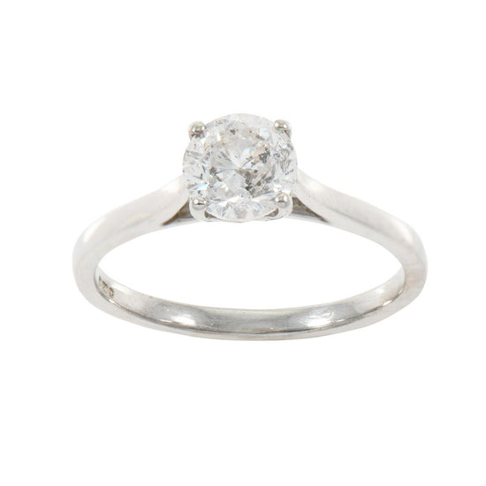 18ct White Gold Ladies Round Solitaire 0.85ct Diamond Ring Size N