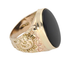 Load image into Gallery viewer, 9ct Gold Onyx Ladies Patterned Signet Ring Size L