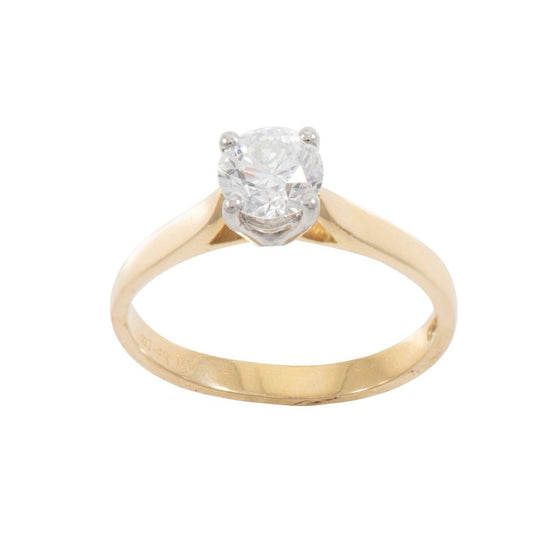 18ct Yellow Gold 0.65ct Diamond Solitaire Ladies Ring Size L