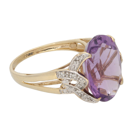 9ct Gold Amethyst & 0.01ct Round Cut Diamond Ladies Dress/Cocktail Ring Size N