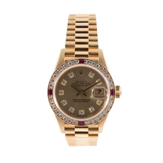 Rolex Datejust 69068 26mm Champagne Diamond Dial & Yellow Gold Automatic Ladies Watch