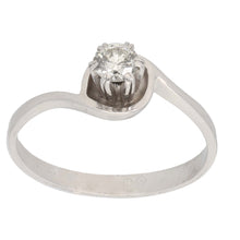 Load image into Gallery viewer, 18ct White Gold 0.25ct Round Cut Diamond Ladies Solitaire Ring Size P