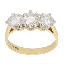 Load image into Gallery viewer, 18ct Gold Diamond Ladies Three Stone Ring Size O