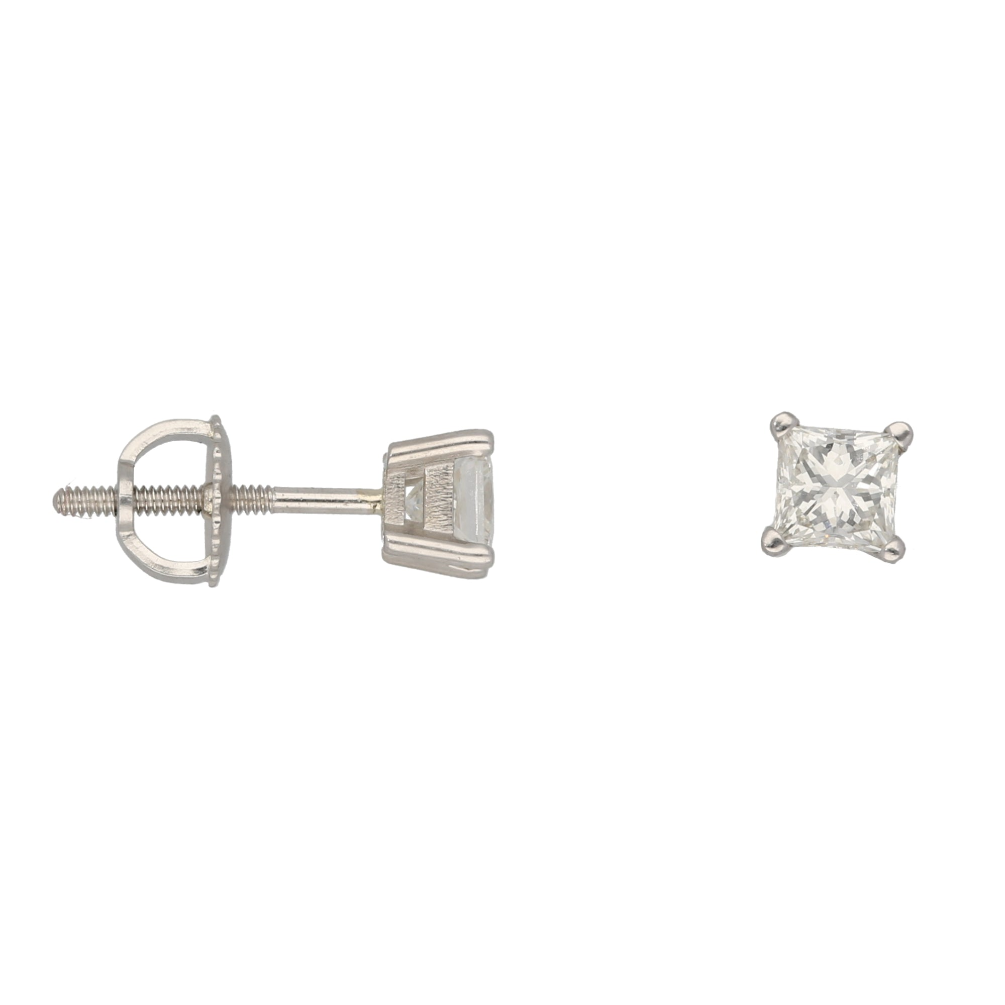 18ct White Gold 0.40ct Square Cut Diamond Ladies Solitaire Earrings
