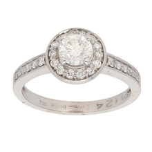 Load image into Gallery viewer, 18ct White Gold 0.50ct Round Cut Diamond & 0.01ct Round Cut Diamond & 0.50ct Round Cut Diamond Ladies Cluster Ring Size L