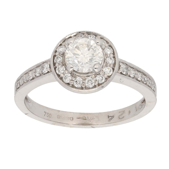 18ct White Gold 0.50ct Round Cut Diamond & 0.01ct Round Cut Diamond & 0.50ct Round Cut Diamond Ladies Cluster Ring Size L
