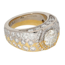 Load image into Gallery viewer, 18ct Bicolour Gold 2.28ct Round Cut Diamond & 0.15ct Round Cut Diamond & 0.10ct Round Cut Diamond & 0.05ct Round Cut Diamond & 0.01ct Round Cut Diamond Ladies Cluster Ring Size S