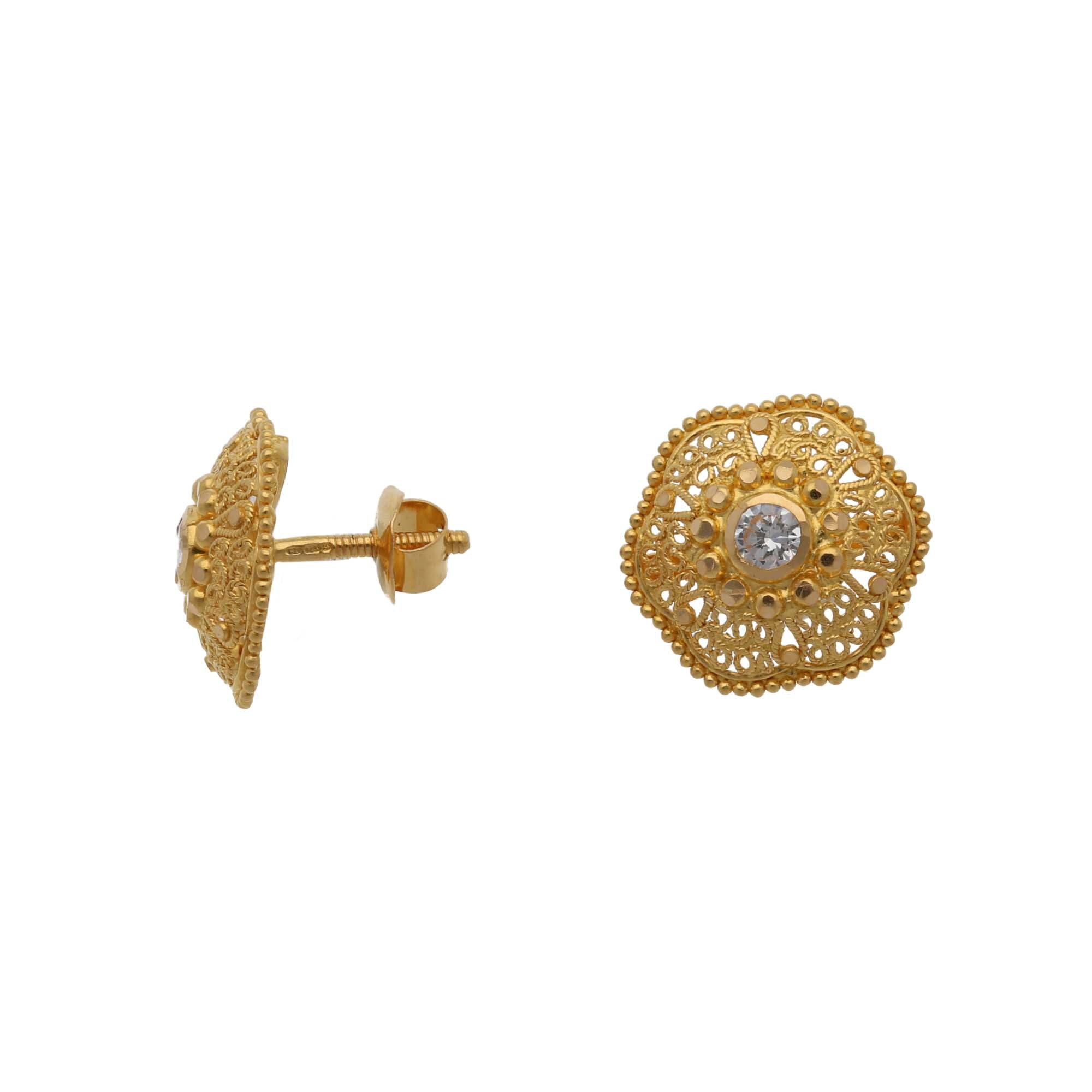 22ct Gold Cubic Zirconia Ladies Dress/Cocktail Earrings