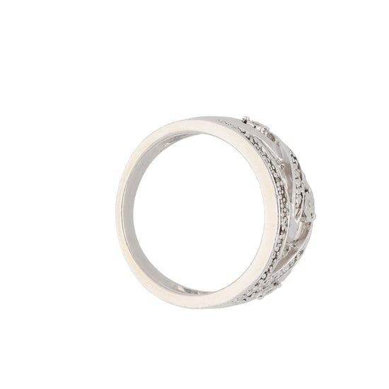 Silver Sterling Diamond Ladies Dress Cocktail Ring Size K