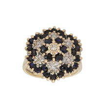 Load image into Gallery viewer, 9ct Gold 0.01ct Round Cut Diamond & Sapphire Ladies Cluster Ring Size L
