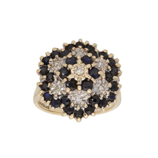 9ct Gold 0.01ct Round Cut Diamond & Sapphire Ladies Cluster Ring Size L