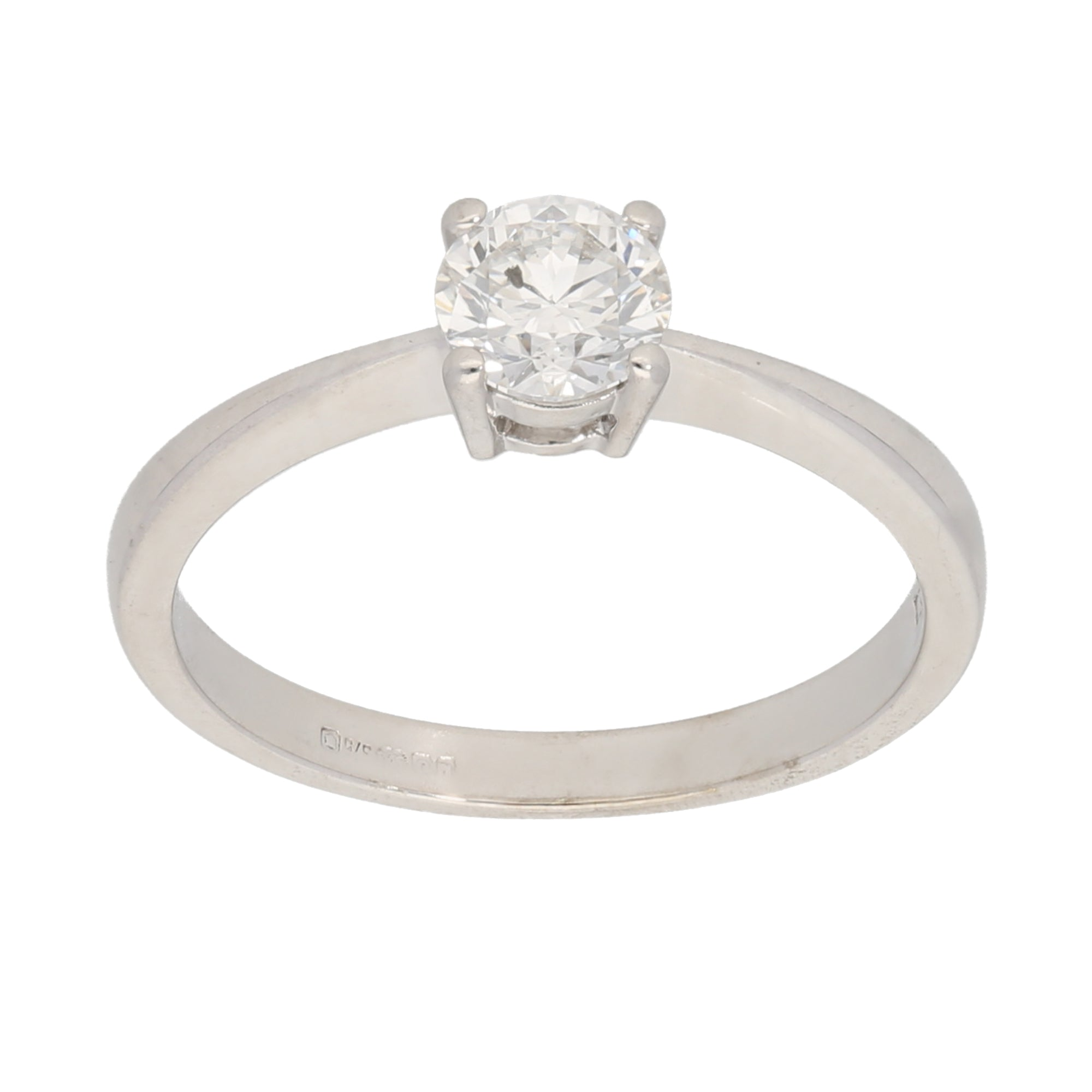 9ct Gold 0.50ct Round Cut Diamond Ladies Solitaire Ring Size M