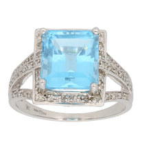 Load image into Gallery viewer, 9ct White Gold 0.01ct Round Cut Diamond & Topaz Ladies Cluster Ring Size P