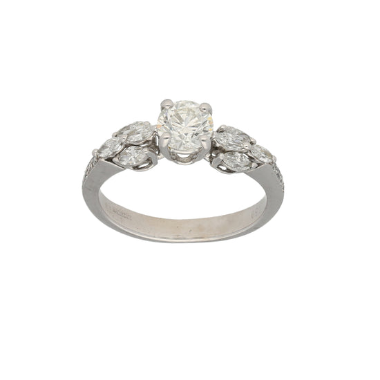 18ct White Gold 0.05ct Marquis Cut Diamond & 0.01ct Round Cut Diamond & 0.65ct Round Cut Diamond Ladies Cluster Ring Size L