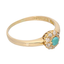 Load image into Gallery viewer, 18ct Gold 0.02ct Round Cut Diamond & Turquoise Ladies Dress/Cocktail Ring Size R