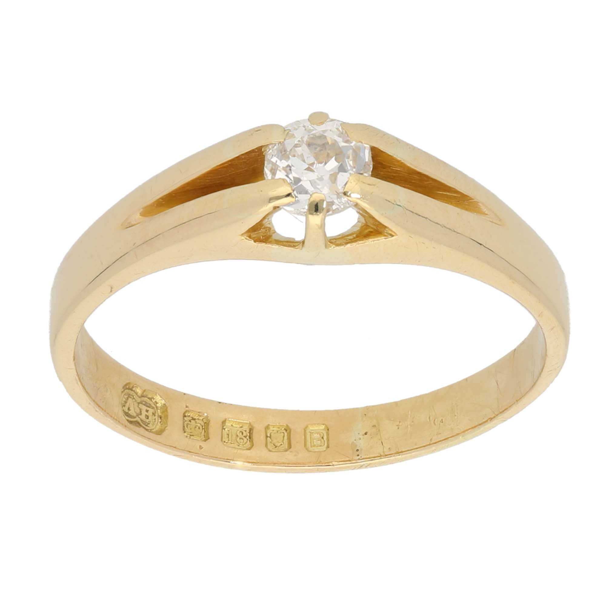 18ct Gold 0.52ct Other Cut Diamond Ladies Solitaire Ring Size W