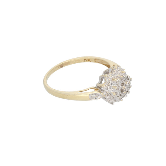 9ct Gold Diamond Ladies Cluster Ring Size N