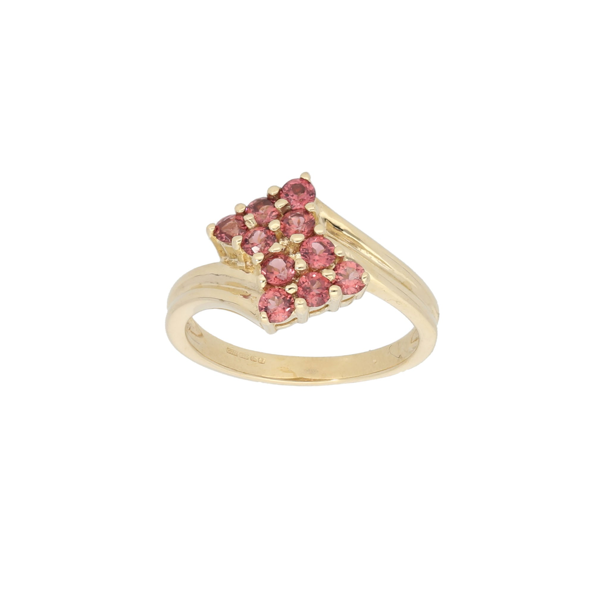 9ct Gold Garnet Ladies Dress Cocktail Ring Size N