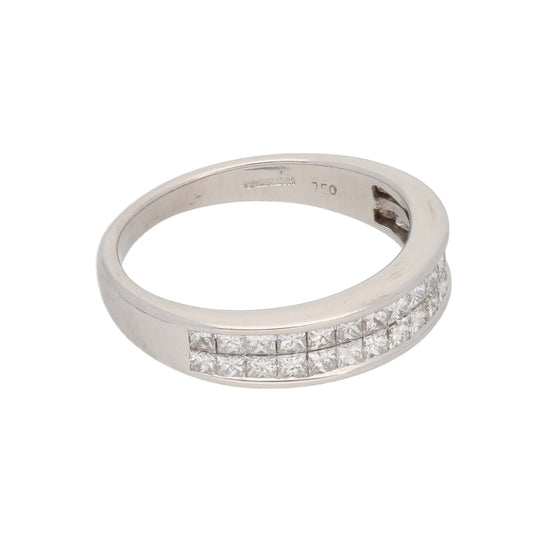 18ct White Gold Diamond Ladies Dress Cocktail Ring Size K