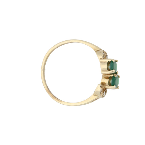 9ct Gold Agate & Cubic Zirconia Ladies Dress Cocktail Ring Size P