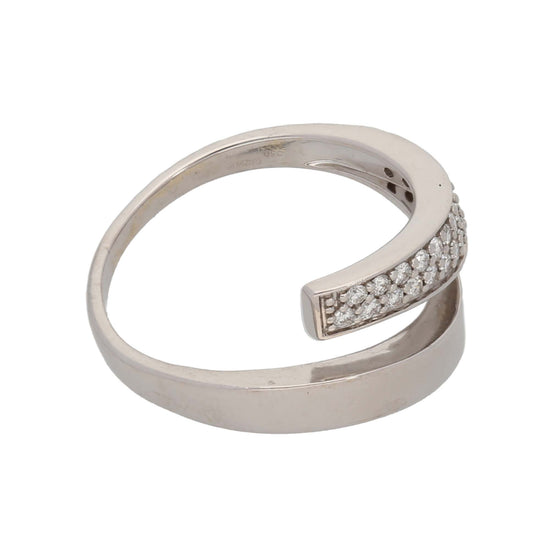 18ct White Gold 0.01ct Round Cut Diamond Ladies Dress/Cocktail Ring Size M