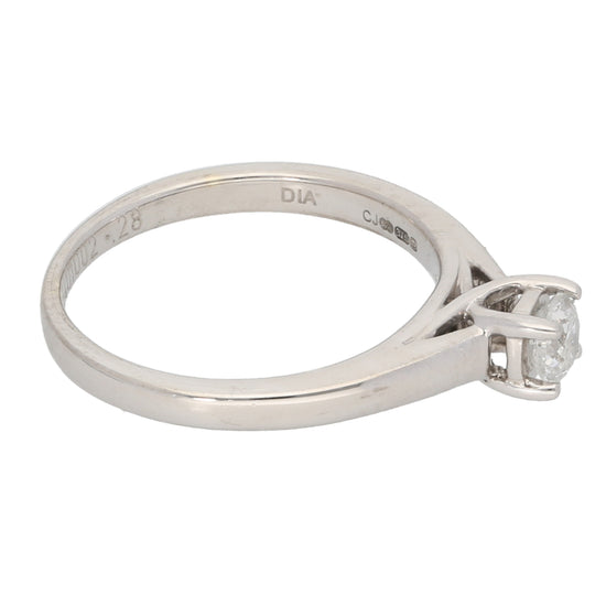 9ct White Gold 0.28ct Round Cut Diamond Ladies Solitaire Ring Size K