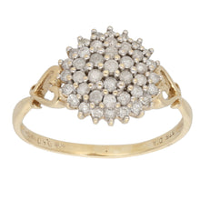 Load image into Gallery viewer, 9ct Gold 0.01ct Round Cut Diamond Ladies Cluster Ring Size Q