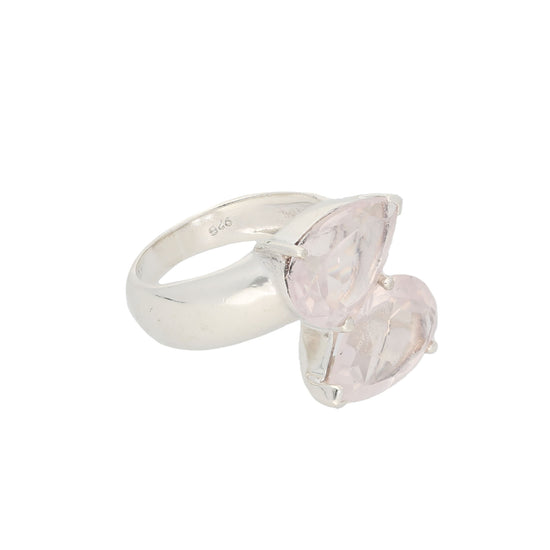 Silver Sterling Rose Quartz Ladies Two Stone Ring Size M