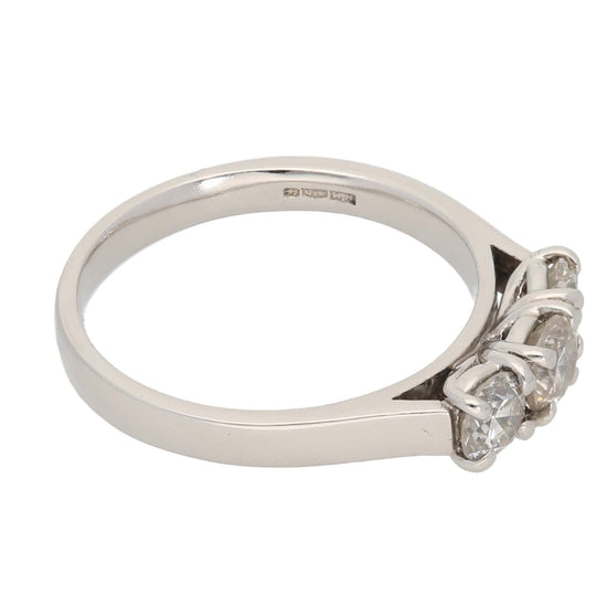 Platinum Ladies Three Stone Ring Size O