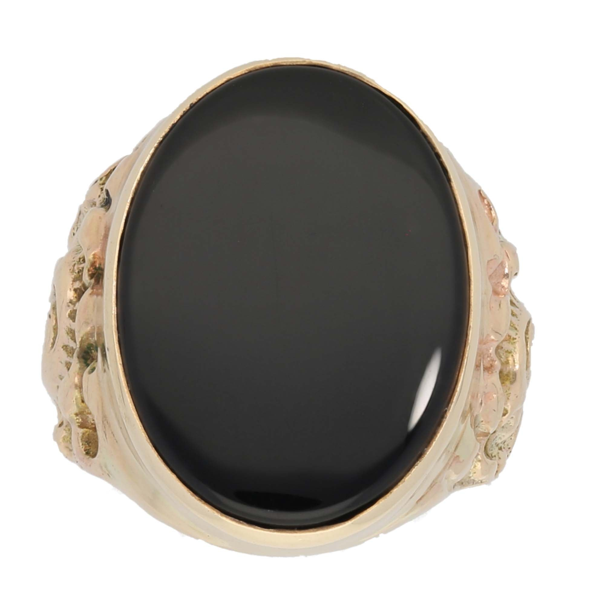 9ct Gold Onyx Ladies Patterned Signet Ring Size L