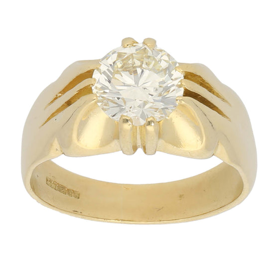 18ct Gold 1.95ct Round Cut Diamond Ladies Solitaire Ring Size R