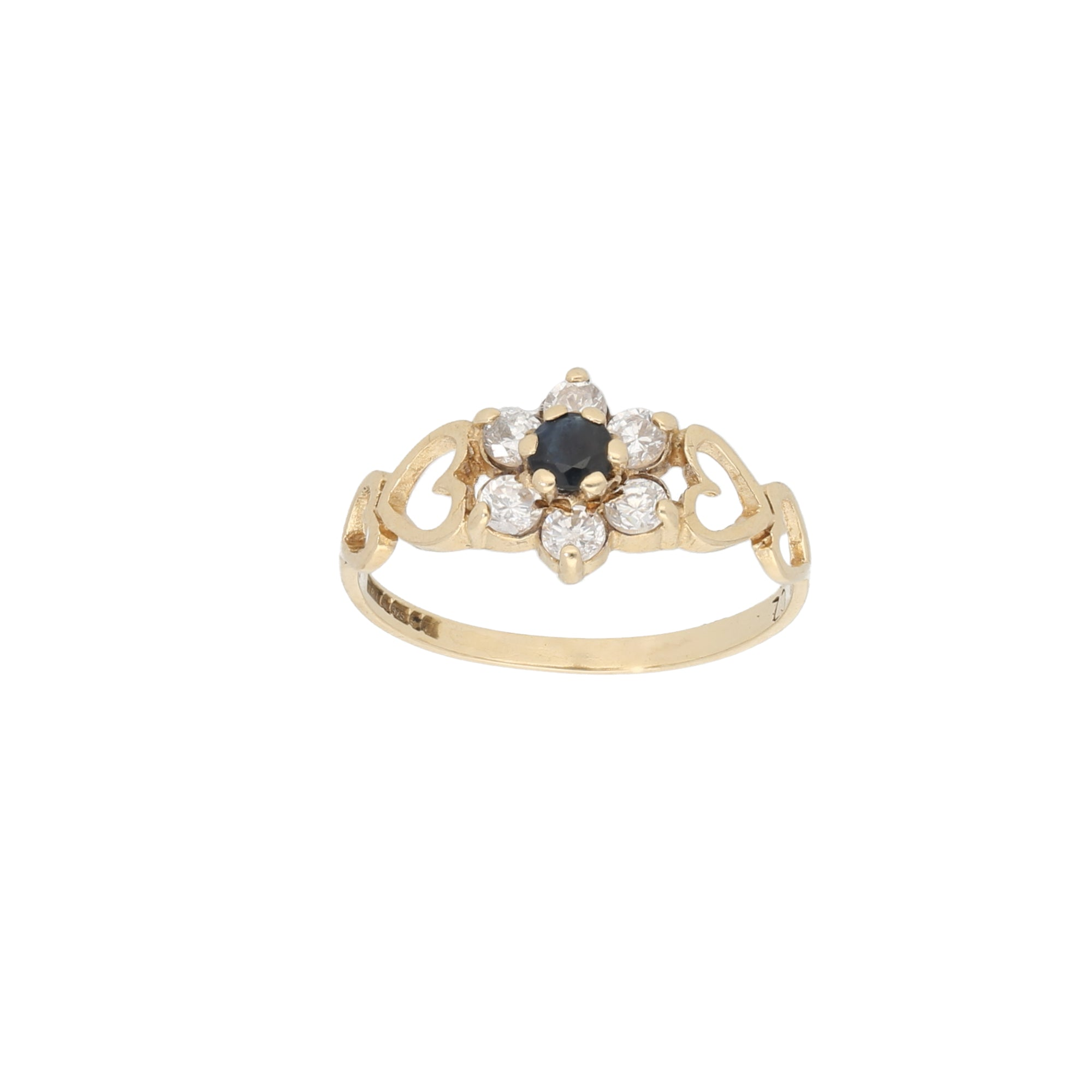 9ct Gold Sapphire & Cubic Zirconia Ladies Dress Cocktail Ring Size M