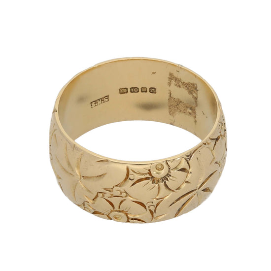 18ct Gold Ladies Patterned Wedding Ring Size Q