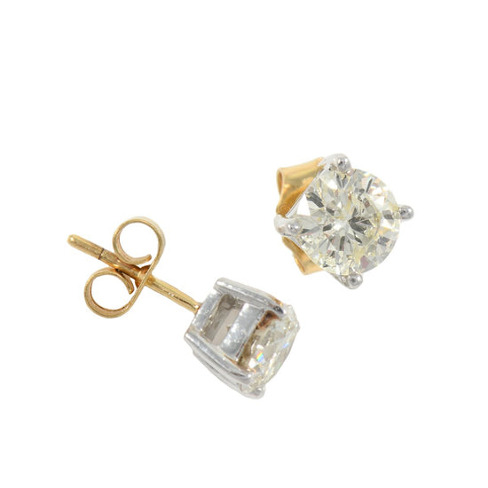 18ct Yellow Gold 1.88ct Diamond Stud Paid Earrings