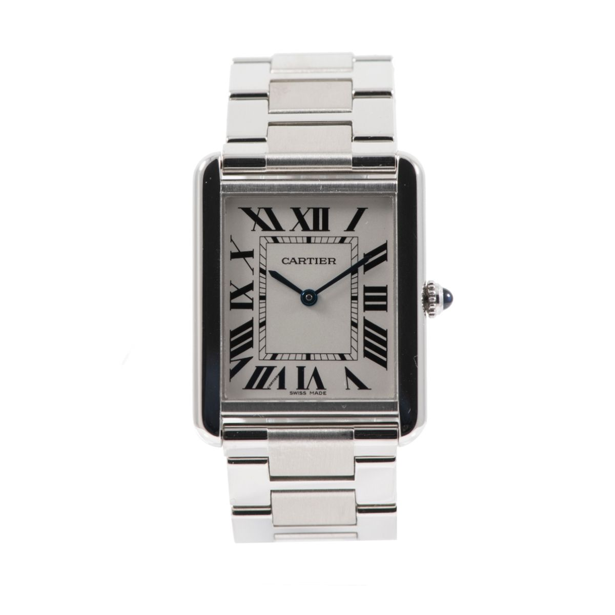 Cartier Tank Solo 3169 Steel & Grey 27mm Watch Mens