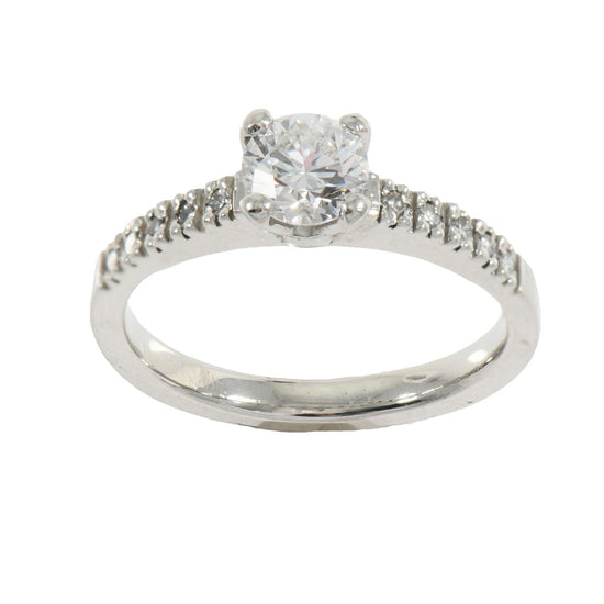 Platinum 0.70ct Diamond Accent Solitaire Ladies Ring Size K